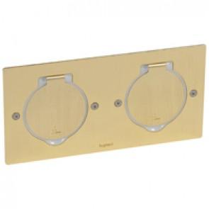 Receptacle for floor socket Arteor/Mosaic - rectangular version - golden brushed
