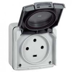 Socket outlet Plexo IP55 - 20 A - 3P+E 230 V~ - surface mounting - grey