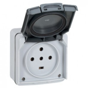 Socket outlet Plexo IP55 - 20 A - 3P+N+E 230 V~ - surface mounting - grey