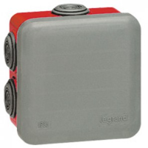 Square Plexo boxes with 7 direct entry membrane glands - IP55 IK07 - 80x80x45 mm - grey/red RAL 7035/3000