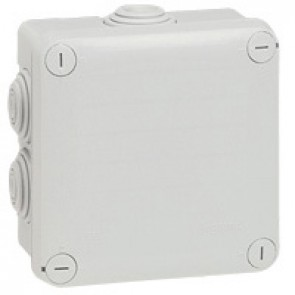 Square Plexo boxes with 7 direct entry membrane glands - IP55 IK07 - 105x105x55 mm - grey RAL 7035
