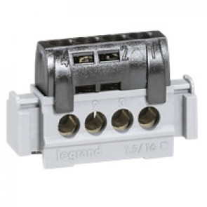IP2X terminal block - phase (black) - 4 x 1.5 to 16² - L. 47 mm