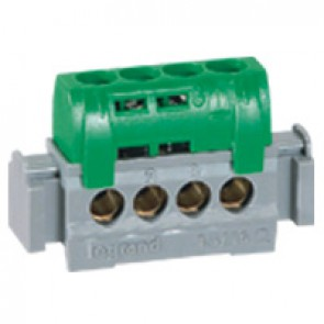 IP2X terminal block - earth (green) - 4 x 1.5 to 16² - L. 47 mm