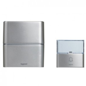 Serenity radio wireless chime kit - chime + IP54 door bell with label holder - single battery-operated - aluminium