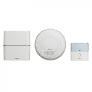 Serenity radio wireless chime kit - chime + IP54 door bell with label holder - twin battery-operated - white