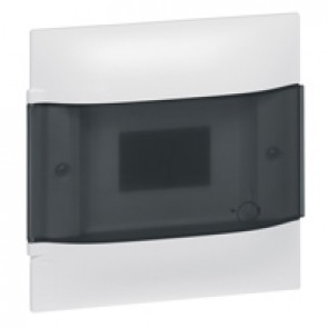 Practibox S flush-mounting cabinet for masonry without terminal blocks - smoked door - 1 row with 4 modules per row