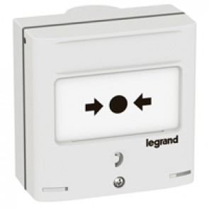 Emergency shutdown control device -2 NO/NC + 2 lights -5 A -24 V= -RAL 9003