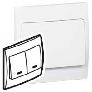 Illuminated switch Mallia - 2 gang - 1 way - 10 AX 250 V~ - white