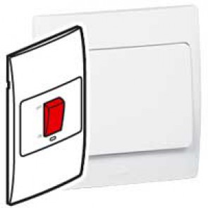 Double pole vertical switch Mallia - 2 gang - 1 way - red indicator - 45 A 250 V~ - white