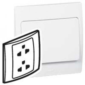 Socket outlet Mallia - Euro/US standard 10/16 A - 2P+E - 2 gang 250 V~ - white