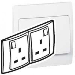 Socket outlet Mallia - switched - 2 gang - 13 A 250 V~ - white