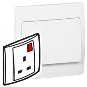 Socket outlet Mallia - switched - 1 gang+Led - 13 A 250 V~ - white