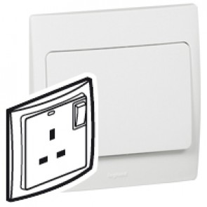 Double pole Socket outlet Mallia - switched - 1 gang - 13 A 250 V~ - white