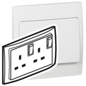 Double pole Socket outlet Mallia - switched - 1 gang+Led - 13 A 250 V~ - white