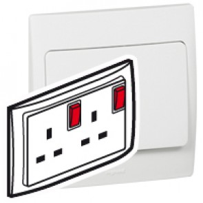 Double pole Socket outlet Mallia - switched - 2 gang+Led - 13 A 250 V~ - white