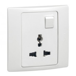 2P+E Multistandard socket outlet Mallia - 16 A-250 V/15 A-127 V - 1 gang - white