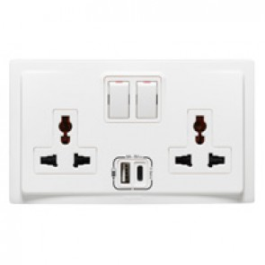 Multistandard switched socket outlet with USB charger Mallia - 2 gang - 2 x 2P+E - 16 A 250 V~ / 15 A 127 V~ - white