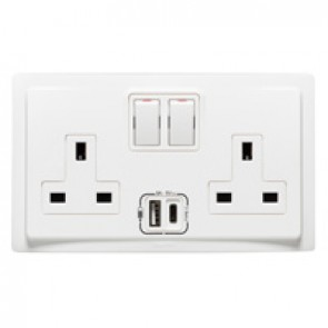 British Standard socket outlet with USB charger Mallia - 2 gang single pole switched - 13 A 250 V~ - white