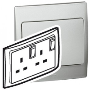 Double pole socket outlet Mallia - switched - 2 gang - 13 A 250 V~ - silver
