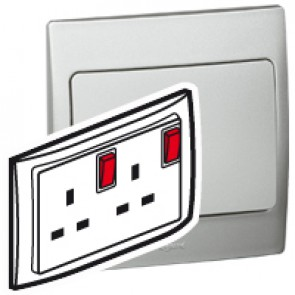 Double pole socket outlet Mallia - switched - 2 gang+Led - 13 A 250 V~ - silver