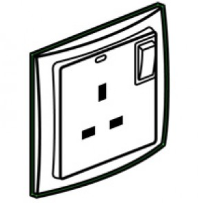 Double pole socket outlet Mallia - switched + LED - 1 gang - 13 A 250 V~ - pearl