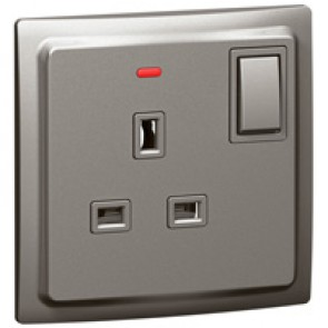 Double pole socket outlet Mallia - switched + LED - 1 gang - 13 A 250 V~ - dark silver