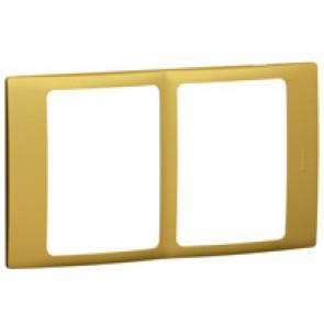 Plate Mallia - 2x1 gang - brass