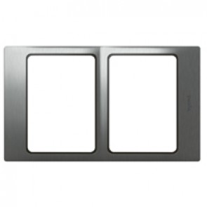 Plate Mallia - 2x1 gang - brushed stainless steel