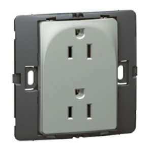 2P+E US standard socket outlet Mallia - 15 A-127 V - SASO agreement - 2 gang -silver