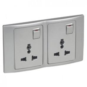 2P+E Multistandard socket outlet Mallia - 16 A-250 V/15 A-127 V - 2 gang -silver