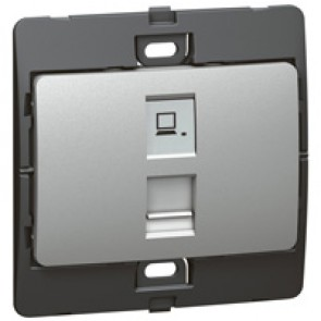 Data socket Mallia - RJ 45 - category 6 - UTP - silver