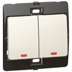 Illuminated switch Mallia - 2 gang - 1 way - 10 AX 250 V~ - pearl