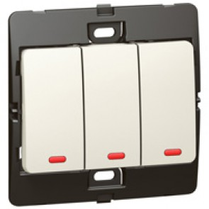 Illuminated switch Mallia - 3 gang - 1 way - 10 AX 250 V~ - pearl