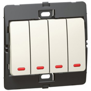 Illuminated switch Mallia - 4 gang - 1 way - 10 AX 250 V~ - pearl