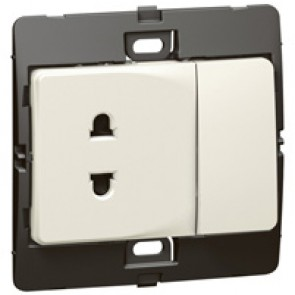 Socket outlet Mallia - Euro/US standard 10/16 A - 2P + 10 A switch 250 V~ - pearl