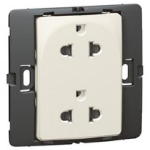 Socket outlet Mallia - Euro/US standard 10/16 A - 2P+E - 2 gang 250 V~ - pearl