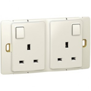 Socket outlet Mallia - switched - 2 gang - 13 A 250 V~ - pearl