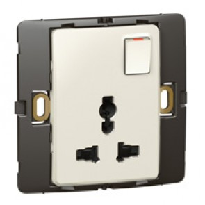 2P+E Multistandard socket outlet Mallia - 16 A-250 V/15 A-127 V - 1 gang - pearl