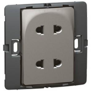 Socket outlet Mallia - Euro/US standard 10/16 A - 2P - 2 gang 250 V~ - dark silver