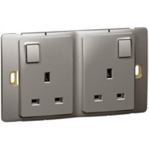 Socket outlet Mallia - switched - 2 gang - 13 A 250 V~ - dark silver