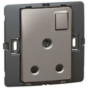 Socket outlet Mallia - switched - 1 gang - 15 A 250 V~ - dark silver