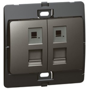 Telephone socket Mallia - double RJ 11 - 4 contacts - dark silver