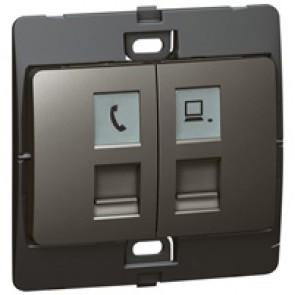 Telephone/data socket Mallia - RJ 11 + RJ 45 socket category 5e UTP - dark silver