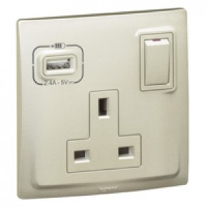 British standard socket outlet with USB charger Mallia - switched - 1 gang - 13 A 250 V~ - champagne