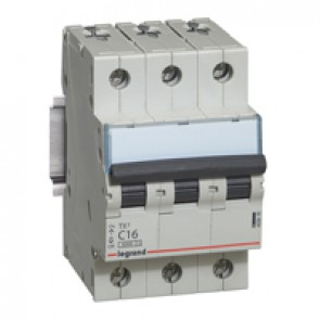 MCB TX³ 6000 - 3P 400 V~ - 16 A - C curve - prong-type supply busbars