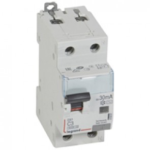 RCBO - DX³ 6000 -10 kA -1P+N-230 V~ -3 A -30 mA -AC type -N right hand