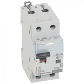 RCBO - DX³ 6000 -10 kA -1P+N-230 V~ -6 A -30 mA -AC type -N right hand