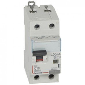 RCBO - DX³ 6000 -10 kA -1P+N-230 V~ -10 A -30 mA -AC type -N right hand