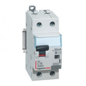 RCBO - DX³ 6000 -10 kA -1P+N-230 V~ -16 A -30 mA -AC type -N right hand