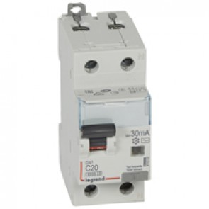 RCBO - DX³ 6000 -10 kA -1P+N-230 V~ -20 A -30 mA -AC type -N right hand